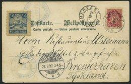 NORWEGEN 56 BRIEF, 1899, Farbige Ansichtskarte Mit II. Ausgabe Bade-Vignette Zusatzfrankiert (Polar Post Ohne Bindstrich
