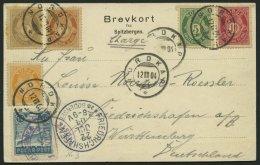 NORWEGEN 52-56 BRIEF, 1904, Einschreib-Ansichtskarte Vom NORDKAP, Fünffarbenfrankatur Und Bade-Vignette Mit Bindest