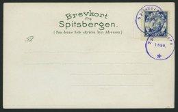 NORWEGEN Brief , 1899, Offizielle Postkarte Des Touristikhotel Advent-Bay Mit Privatwertzeichen Der Vesteraalens Dampski