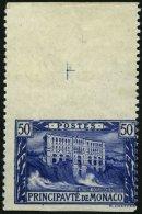 MONACO 58Uw **, 1922, 50 Pf. Ultramarin, Waagerecht Ungezähnt, Oberrandstück, Pracht, R!