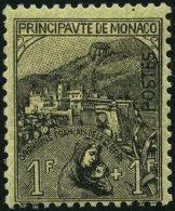 MONACO 32 *, 1919, 1 Fr. Schwarz Auf Gelb, Falzrest, üblich Gezähnt Pracht, Signiert, Mi. 450.-