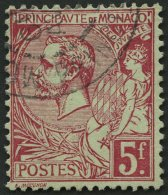 MONACO 21a O, 1891, 5 Fr. Karmin Auf Grünlich, Pracht, Mi. 170.-