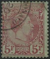 MONACO 10 O, 1885, 5 Kr. Karmin Auf Grünlich, Farbfrisches Prachtstück, Fotoattest Von Der Weid, Mi. 2400.-
