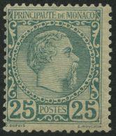 MONACO 6 *, 1885, 25 C. Dunkelbläulichgrün, Winziger Erstfalzrest, Pracht, Gepr. Brun, Mi. 750.-