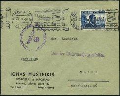 LITAUEN 428 BRIEF, 1939, 60 C. 20 Jahre Republik Auf Brief Von KAUNAS Nach Mainz, Mit Zensurstempel Der Auslandsnachrich