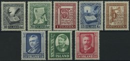 ISLAND 287-91,293-95 **, 1953/4, Island-Manuskripte Und Hafstein, 2 Prachtsätze, Mi. 80.-