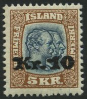 ISLAND 141 *, 1930, 10 Kr. Auf 5 Kr. Doppelportrait, Falzrest, Pracht, Signiert Zumstein