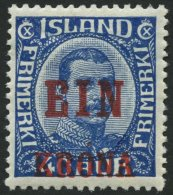 ISLAND 121 *, 1926, 1 Kr. Auf 40 A. Blau, Falzreste, Pracht, Facit 1300.- Skr.