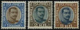 ISLAND 96-98 *, 1920, 1 - 5 Kr. König Christian X, Falzrest, 3 Prachtwerte