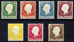 ISLAND 69-75 *, 1912, Frederik VIII, Falzreste, Prachtsatz, Mi. 300.-