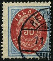 ISLAND 16A O, 1892, 50 A. Hellblau/rosa, Gezähnt 14:131/2, üblich Gezähnt Pracht, Mi. 95.-
