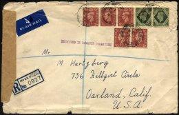 BRITISCHE MILITÄRPOST 200,209 BRIEF, 1947, 11/2 (5x) Und 9 P. (2x) Mit K2 FIELD POST OFFICE/782 Auf Einschreibbrief