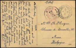 BRITISCHE MILITÄRPOST 1919, K2 ARMY POST OFFICE Und Schwacher Zensurstempel Auf Feldpost-Ansichtskarte Nach Mons/Be