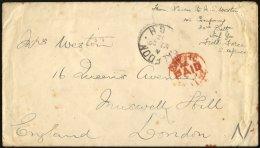 BRITISCHE MILITÄRPOST 1902, Roter K1 PAID-Stempel Auf Feldpostbrief Mit Absender 143. Company 32nd Batt.Inf.Field F