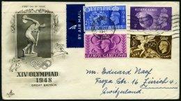 GROSSBRITANNIEN 237-40 BRIEF, 1948, Olympische Sommerspiele Auf FDC In Die Schweiz, Pracht