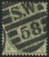GROSSBRITANNIEN 77 O, 1884, 4 P. Dunkelgraugrün, Nummernstempel S.W.58, Pracht, Mi. 160.-