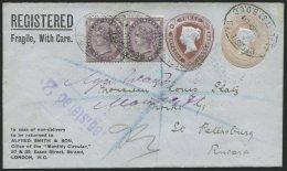 GROSSBRITANNIEN 65 BRIEF, 1901, 1 P. Königin Victoria Im Paar Auf Privatganzsache 3 P. Braun Neben 1 P. Rosa, R-Ums