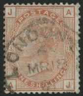 GROSSBRITANNIEN 53 O, 1880, 1 Sh. Braunorange, K1 LONDON, Leichte Knitterspuren, Feinst, Mi. 350.-