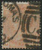 GROSSBRITANNIEN 42 O, 1876, 4 P. Orangerot, Platte 15, Stempel C51 ST. THOMAS!, Pracht, Gepr. Drahn