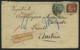 GROSSBRITANNIEN 16,46 BRIEF, 1866, 1 P. Rosa Und 1 Sh. Grün Auf Brief Von England Nach Triest, Mit Rotem Ovalen Ste