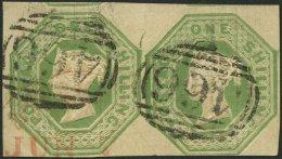 GROSSBRITANNIEN 7 Paar O, 1847, 1 Sh. Mattgelbgrün, Platte WW1, Im Waagerechten Meist Riesenrandigen Paar, Nummerns