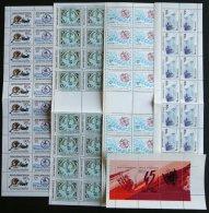 ALBANIEN ** , 1989-92, 5 Verschiedene Zusammendruckbogen: Mi.Nr. 2419-22, 2435/6, 2493/4, 2495/6 Und 2510/1, Pracht
