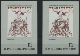 ALBANIEN Bl. 86F **, 19785, Block Nationales Fest Mit Abart Farbe Bräunlichrot Fehlend, Mit Vergleichsstück, P