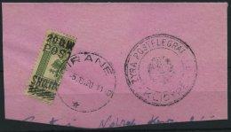 ALBANIEN 62H BrfStk, 1919, 20 QIND Auf 16 H. Grün, Halbiert Auf Briefteil, Pracht