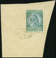 ALBANIEN 30 BrfStk, 1914, 5 Q Blaugrün/grün, Goldener Stempel SHKODER, Pracht