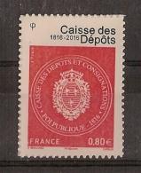 """RARE !! - Adhésifs  """"Caisse Des Dépôts 0.80 €"""" ** (2016)"""