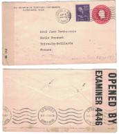 """USA - 1940 LETTRE Pour BRIVE FRANCE Avec CENSURE MILITAIRE """"opened By Examiner 4446"""" Entier Postal De Cambridge"""