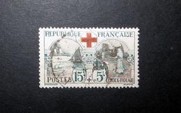 FRANCE 1918 N°156 OBL. (CROIX-ROUGE. INFIRMIÈRE ET NAVIRE-HÔPITAL. 15C + 5C NOIR ET ROUGE)