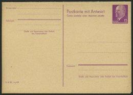 GANZSACHEN P 78 BRIEF, 1961, 15/15 Pf. Ulbricht, Absenderteil Zweizeilig, Ungebraucht, Pracht, Mi. 50.-