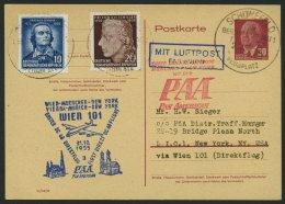 GANZSACHEN P 54 BRIEF, 1955, 20 Pf. Karmin Mit Zusatzfrankatur, PAA-Flug Wien-New York, Pracht