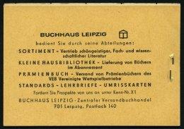 ZUSAMMENDRUCKE MH 4c2.1 **, 1968, Markenheftchen Ulbricht, Bogenzählnummer Unten, Feinst, Mi. 85.-