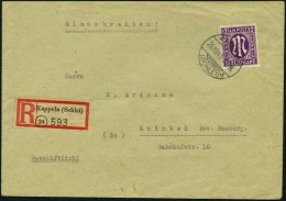KIEL 1 BRIEF, 26.10.1945, R-Zettel Kappeln Als 30 Pf.-Marke Verwendet Auf Einschreibbrief Nach Reinbach, Pracht