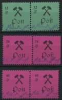 GROSSRÄSCHEN 25-27IPFII **, 1945, 12 - 40 Pf., Type I, Je Mit Plattenfehler S Ohne Kopf (Feld 7), In Waagerechten P