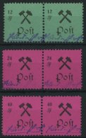 GROSSRÄSCHEN 25-27IIPFI **, 1945, 12 - 40 Pf., Type II, Je Mit Plattenfehler P Von Post Offen (Feld 2), In Waagerec