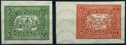 ASCHAFFENBURG II/IIIBx **, 1946, 10 Pf. Grün Und 16 Pf. Rot, Ungezähnt, Waagerechte Wellenlinien, 2 Prachtwert