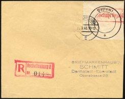 ASCHAFFENBURG 1 BRIEF, 1946, Postverschlusszettel Schwarz/rot Auf Einschreibbrief, Pracht, Mi. 700.-