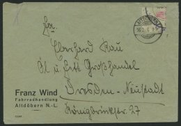 ALTDÖBERN 8 BRIEF, 16.2.1946, 12 Pf. Wertziffer Und Zettelabgrenzung Rot, Unbedeutende Rückseitige Öffnun