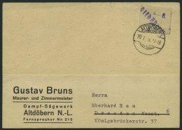 ALTDÖBERN 1II BRIEF, 10.1.1946, 6 Pf. Wertziffer Violett, Stellung II, Prachtkarte, Gepr. Weigelt Mit Befund