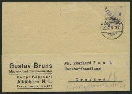 ALTDÖBERN 1II BRIEF, 29.12.1945, 6 Pf. Wertziffer Violett, Stellung II, Prachtkarte, Gepr. Weigelt Mit Befund