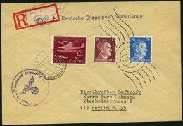 FELDPOST II. WK BELEGE 1942/44, 4 Verschiedene Belege Deutsche Dienstpost Niederlande, Dabei 2 Einschreibbriefe, Feinst/