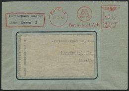FELDPOST II. WK BELEGE 22.3.1945, Fensterumschlag Mit Freistempel Der FERROSTAHL A.G. Aus Essen, Mit Zusatz Kurierpost W