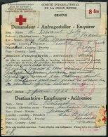 FELDPOST II. WK BELEGE 1944, Rotkreuzvordruck Für Kriegsgefangene Mit Stempeln Des Internationalen Komitee`s Rotes
