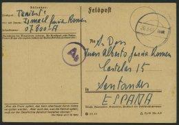FELDPOST II. WK BELEGE 20.3.1943, Feldpostkarte Der Blauen Division, Mit Tarn- Und Zensurstempel Ab, FP-Nummer 07800, Na