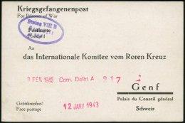 FELDPOST II. WK BELEGE 1943, Kriegsgefangenen-Registrierkarte Des Internationalen Suchdienstes Des Roten Kreuzes In Genf