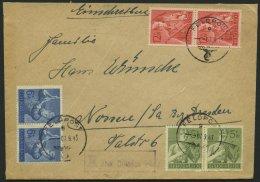 FELDPOST II. WK BELEGE 1943, Durch Feldpost Beförderte Eingeschriebene Briefsendung Mit Provisorischem Einschreibe-