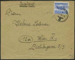 FELDPOSTMARKEN 11Ba BRIEF, 1945, Insel Leros, Durchstochen, Aufdruck Schwarzblauviolett, Type IV, Feldpost-Nr. 68093 G,